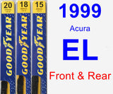 Front & Rear Wiper Blade Pack for 1999 Acura EL - Premium