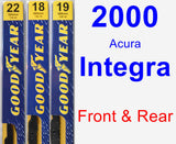Front & Rear Wiper Blade Pack for 2000 Acura Integra - Premium
