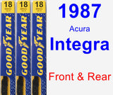 Front & Rear Wiper Blade Pack for 1987 Acura Integra - Premium