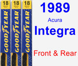Front & Rear Wiper Blade Pack for 1989 Acura Integra - Premium