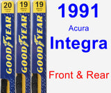 Front & Rear Wiper Blade Pack for 1991 Acura Integra - Premium