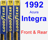 Front & Rear Wiper Blade Pack for 1992 Acura Integra - Premium