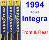 Front & Rear Wiper Blade Pack for 1994 Acura Integra - Premium