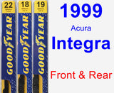 Front & Rear Wiper Blade Pack for 1999 Acura Integra - Premium