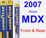 Front & Rear Wiper Blade Pack for 2007 Acura MDX - Premium
