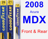Front & Rear Wiper Blade Pack for 2008 Acura MDX - Premium