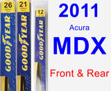 Front & Rear Wiper Blade Pack for 2011 Acura MDX - Premium
