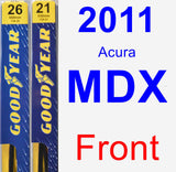 Front Wiper Blade Pack for 2011 Acura MDX - Premium