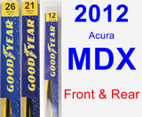 Front & Rear Wiper Blade Pack for 2012 Acura MDX - Premium