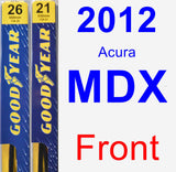 Front Wiper Blade Pack for 2012 Acura MDX - Premium