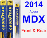 Front & Rear Wiper Blade Pack for 2014 Acura MDX - Premium