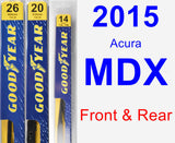 Front & Rear Wiper Blade Pack for 2015 Acura MDX - Premium