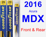 Front & Rear Wiper Blade Pack for 2016 Acura MDX - Premium