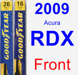 Front Wiper Blade Pack for 2009 Acura RDX - Premium