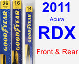 Front & Rear Wiper Blade Pack for 2011 Acura RDX - Premium