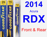 Front & Rear Wiper Blade Pack for 2014 Acura RDX - Premium