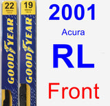 Front Wiper Blade Pack for 2001 Acura RL - Premium