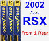 Front & Rear Wiper Blade Pack for 2002 Acura RSX - Premium