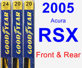 Front & Rear Wiper Blade Pack for 2005 Acura RSX - Premium