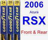 Front & Rear Wiper Blade Pack for 2006 Acura RSX - Premium