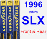 Front & Rear Wiper Blade Pack for 1996 Acura SLX - Premium