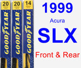 Front & Rear Wiper Blade Pack for 1999 Acura SLX - Premium