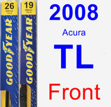 Front Wiper Blade Pack for 2008 Acura TL - Premium