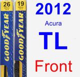 Front Wiper Blade Pack for 2012 Acura TL - Premium