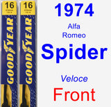 Front Wiper Blade Pack for 1974 Alfa Romeo Spider - Premium