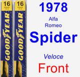 Front Wiper Blade Pack for 1978 Alfa Romeo Spider - Premium