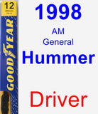 Driver Wiper Blade for 1998 AM General Hummer - Premium