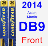 Front Wiper Blade Pack for 2014 Aston Martin DB9 - Premium