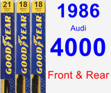 Front & Rear Wiper Blade Pack for 1986 Audi 4000 - Premium