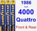 Front & Rear Wiper Blade Pack for 1986 Audi 4000 Quattro - Premium