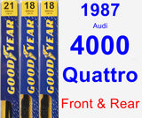 Front & Rear Wiper Blade Pack for 1987 Audi 4000 Quattro - Premium