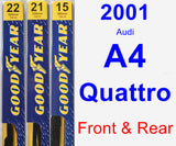 Front & Rear Wiper Blade Pack for 2001 Audi A4 Quattro - Premium