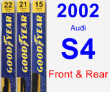 Front & Rear Wiper Blade Pack for 2002 Audi S4 - Premium