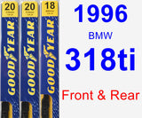 Front & Rear Wiper Blade Pack for 1996 BMW 318ti - Premium