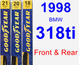 Front & Rear Wiper Blade Pack for 1998 BMW 318ti - Premium
