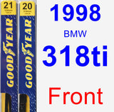 Front Wiper Blade Pack for 1998 BMW 318ti - Premium