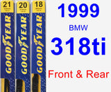 Front & Rear Wiper Blade Pack for 1999 BMW 318ti - Premium