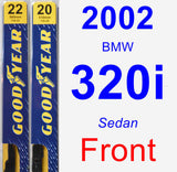 Front Wiper Blade Pack for 2002 BMW 320i - Premium