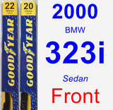 Front Wiper Blade Pack for 2000 BMW 323i - Premium