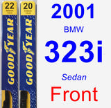Front Wiper Blade Pack for 2001 BMW 323i - Premium