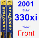 Front Wiper Blade Pack for 2001 BMW 330xi - Premium