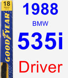 Driver Wiper Blade for 1988 BMW 535i - Premium