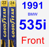 Front Wiper Blade Pack for 1991 BMW 535i - Premium