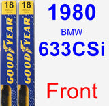 Front Wiper Blade Pack for 1980 BMW 633CSi - Premium