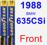 Front Wiper Blade Pack for 1988 BMW 635CSi - Premium