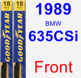 Front Wiper Blade Pack for 1989 BMW 635CSi - Premium